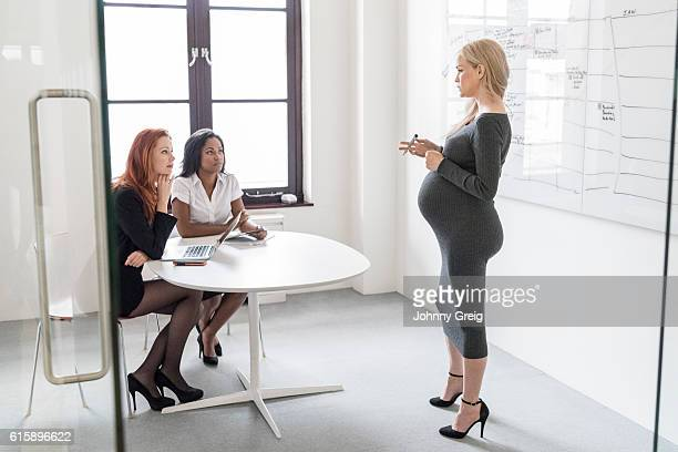 Pregnant businesswoman explaining to female colleagues in business meeting