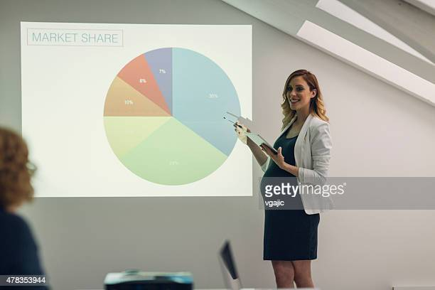 Pregnant Businesswoman Giving Presentation In Office.