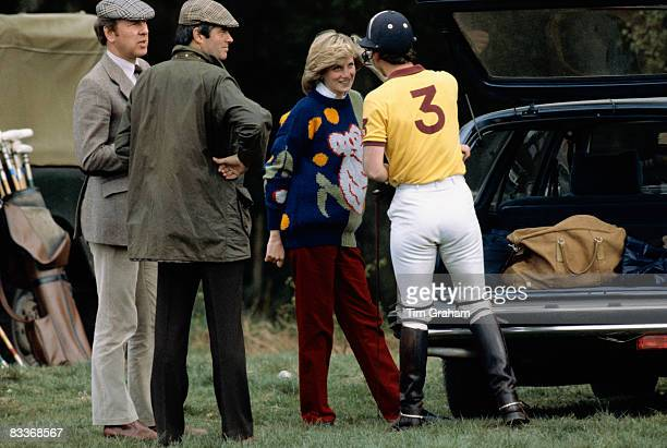 Pregnant Diana Princess of Wales chatting with Prince Charles Prince of Wales at polo at Windsor on May 1 1982 in Windsor England