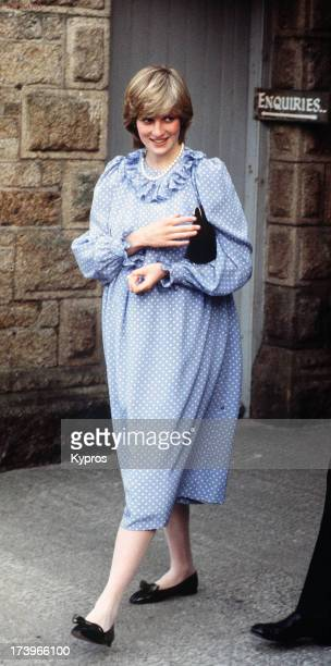 A pregnant Diana Princess of Wales during a trip to the Scilly Isles April 1982
