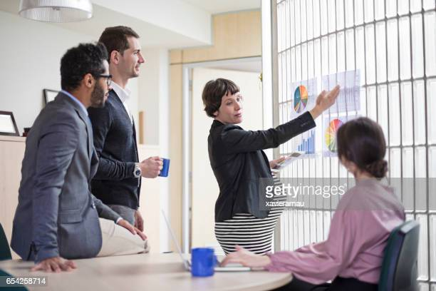 Pregnant executive explaining charts to coworkers