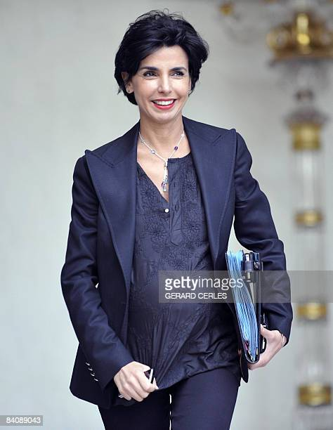 Pregnant French Justice minister Rachida Dati leaves the Elysee Palace in Paris on December 19 2008 following the weekly cabinet meeting France will...