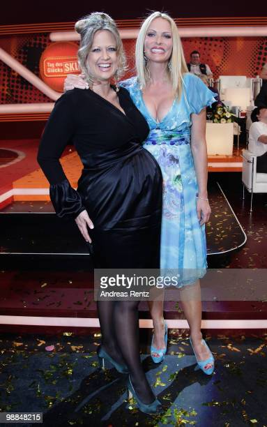 Pregnant TV host Barbara Schoeneberger and Sonya Kraus pose during the SKL show 'Tag des Gluecks' at Tempodrom on May 4 2010 in Berlin Germany