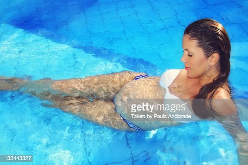 Pregnant Woman In Swimming Pool Stock Photo Getty Images