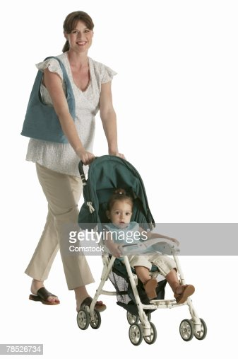 women pushing a pram in a short skirt