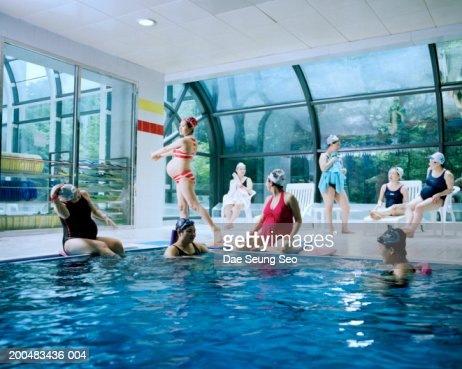 Pregnant Women At Indoor Swimming Pool Stock Photo Getty Images