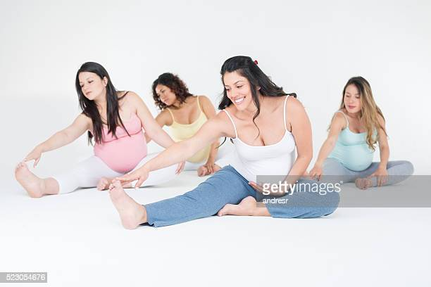 Pregnant women exercising together