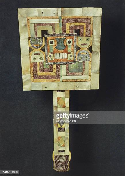 prehispanic america high culture aerea Andean region art culture objects Tiahuanaco/Huari back side of a pyrite mirror mosaic of shell and turquois...
