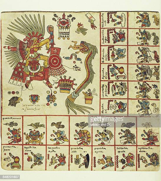 prehispanic america high culture regions mexico mesoamerica art objects religion Codex Borbonicus pictorial manuscript of early 16th cent The deities...
