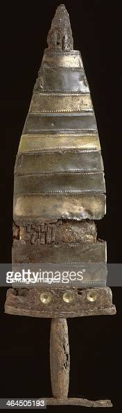 Prehistoric dagger and scabbard c550c450 BC This iron dagger has a sheath made of bronze bands with a wooden lining It was found in the Thames...