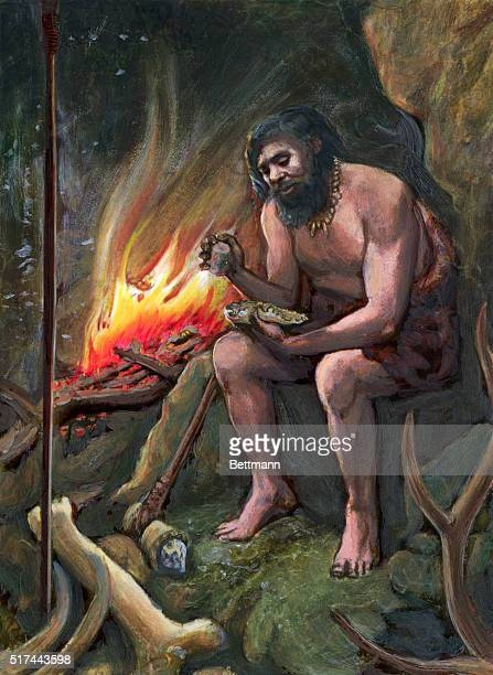 Prehistoric man in his cave chipping a stone tool An undated wash drawing