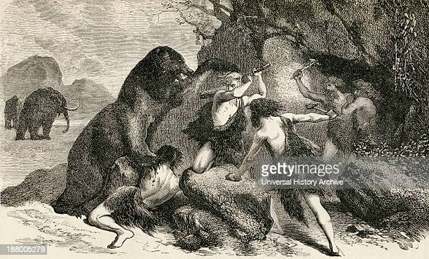 Prehistoric Man In The Time Of The Giant Bear And Mammoth From The World's Inhabitants By GT Bettany Published 1888