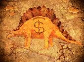 prehistoric piggy bank with dinosaur
