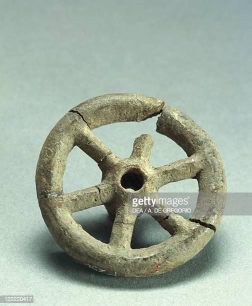 Prehistory Italy Bronze Age Terramare culture Six spoke wheel From Emilia Romagna region