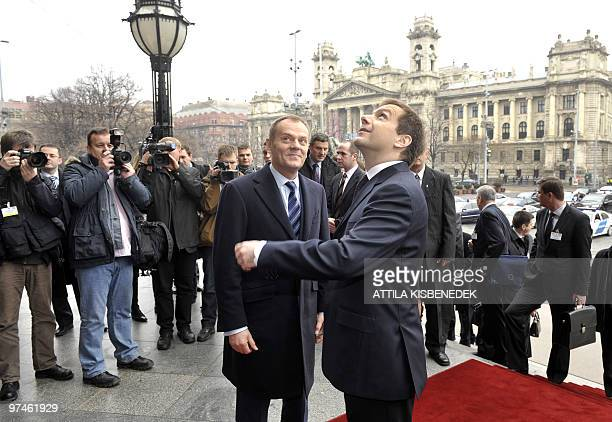 Preime Ministers of Visegrads Group Donald Tusk of Poland is welcomed by Gordon Bajnai of Hungary in front of the Hungarian parliament on February 24...