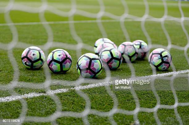Preimer leauge balls before kick off during the Premier League match between Crystal Palace and Stoke City at Selhurst Park on September 18 2016 in...