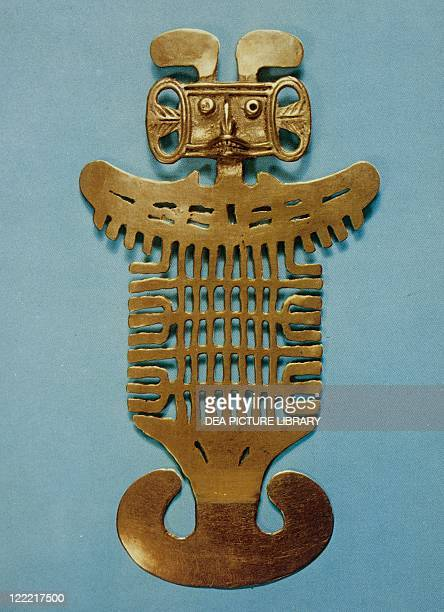 PreInca civilization Colombia 10th century Goldsmith Art Tolima civilization Pectoral ornament in smelted gold shaped by cire perdue
