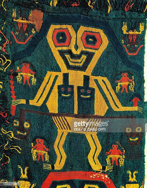 PreInca civilization Peru 6th century bC Paracas culture woollen cloth for carpets with anthropomorphic figures From Paracas necropolis