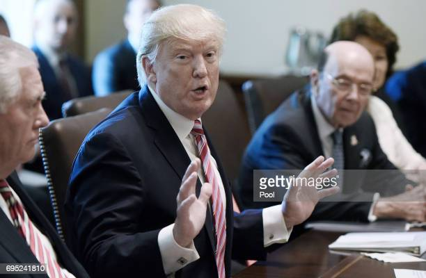 US Preisdent Donald Trump speaks during a meeting in the Cabinet Room of the White House June 12 2017 in Washington DC Also in attendence was US...