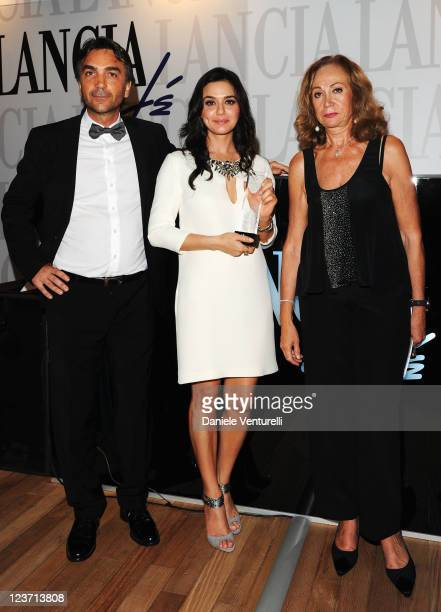 Preity Zinta and Rosetta Sannelli with her award during the 'Premio Kineo' Ceremony during the 68th Venice International Film Festival at Lancia Cafe...