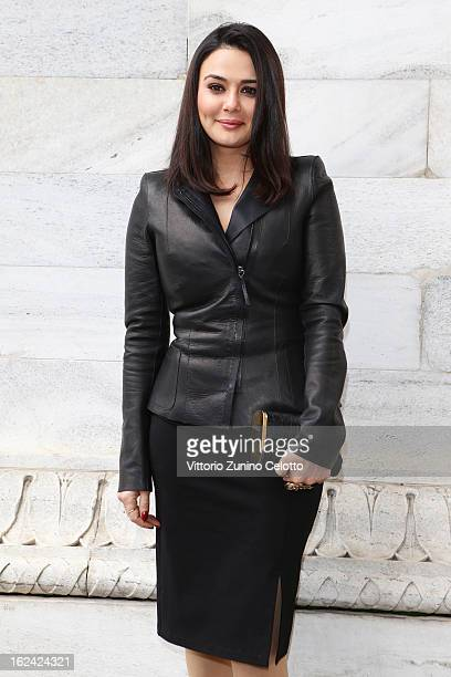 Preity Zinta attends the Roberto Cavalli fashion show during Milan Fashion Week Womenswear Fall/Winter 2013/14 on February 22 2013 in Milan Italy