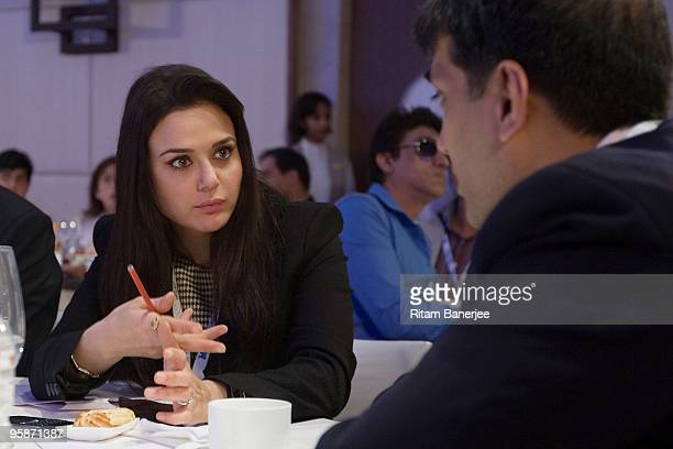 Preity Zinta Coowner of Kings XI Punjab attends the Indian Premier League Auction 2010> on January 19 2010 in Mumbai India