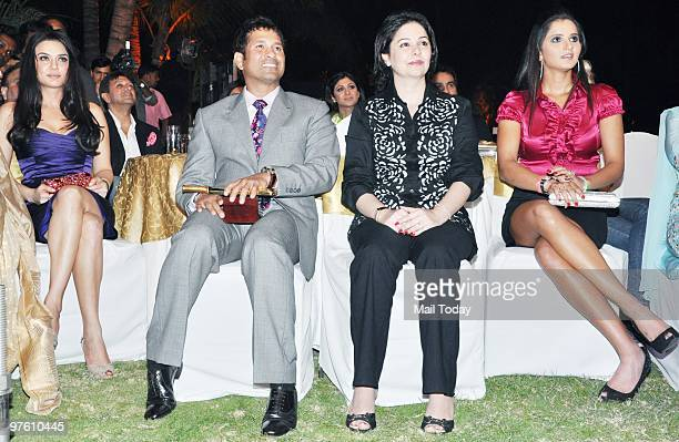 Preity Zinta Sachin Tendulkar with wife Anjali and Sania Mirza during a ceremony organised by 'Sports Illustrated' to felicitate the most influential...