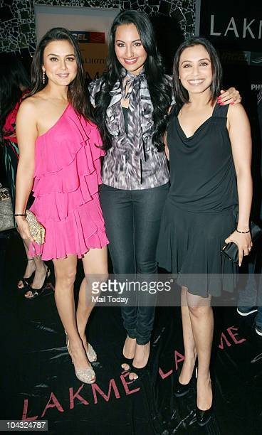 Preity Zinta Sonakshi Sinha and Rani Mukherjee at designer Manish Malhotra's show on the fourth day of Lakme Fashion Week in Mumbai on September 20...