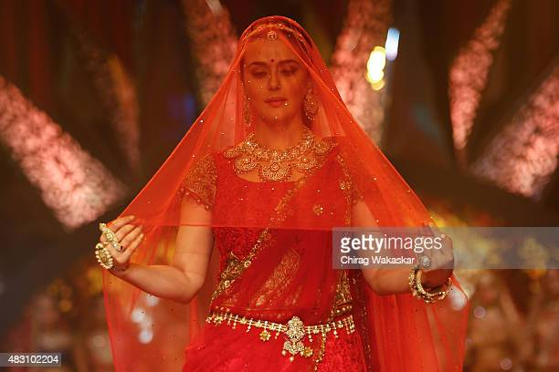 Preity Zinta walks the runway at the Birdhichand Ghanshyamdas Jewellers show during Day 4 of the India International Jewellery Week at the Grand...