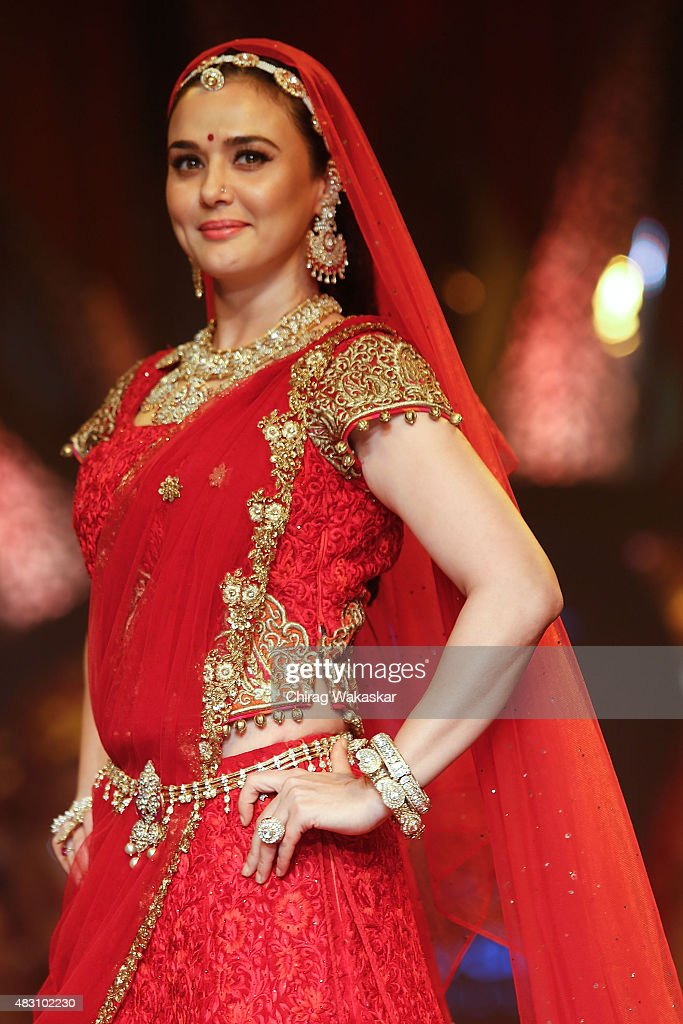 <a gi-track='captionPersonalityLinkClicked' href=/galleries/search?phrase=Preity+Zinta&family=editorial&specificpeople=630257 ng-click='$event.stopPropagation()'>Preity Zinta</a> walks the runway at the Birdhichand Ghanshyamdas Jewellers show during Day 4 of the India International Jewellery Week at the Grand Hyatt on August 6, 2015 in Mumbai, India.