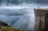 View point Prekestolen in Norway during a storm