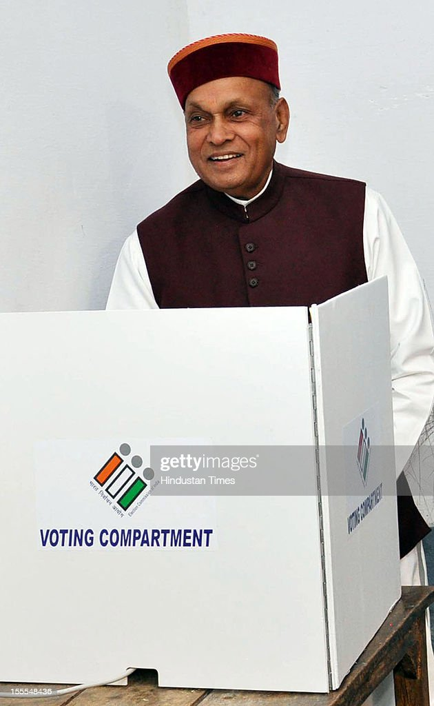 Prem Kumar Dhumal, Chief Minister of Himachal Pradesh casts his vote for the Himachal Assembly election at his native village, Sameerpur, near Hamirpur, on November 04, 2012 in Himachal Pardesh, India. Voting figures have indicated a high percentage turnout for polling in the assembly election.