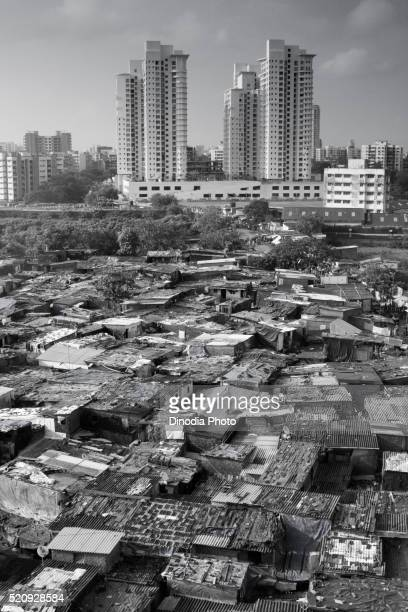 Prem Nagar slum and modern construction, Goregaon, Bombay Mumbai, Maharashtra, India