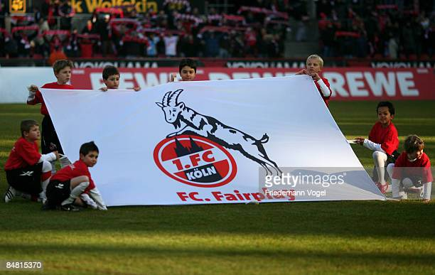 Prematch routine during the Bundesliga match between 1 FC Koeln and Karlsruher SC at the Rhein Energie stadium on February 14 2009 in Cologne Germany