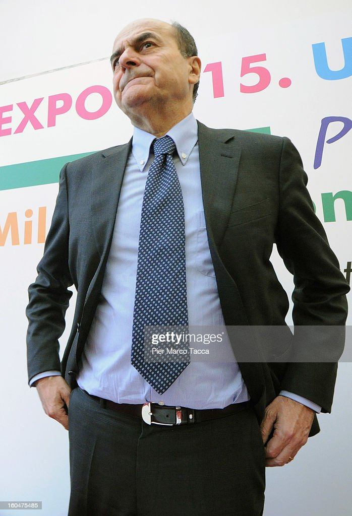 Premier candidate of PD Pierluigi Bersani attends the 'Milan Expo 2015 presentation' at Circolo della Stampa on February 1 2013 in Milan Italy The...