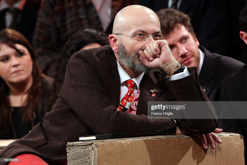 Premier candidate Oscar Giannino attends 'Ballaro' TV talk show on February 5, 2013 in Rome, Italy. Giannino is an economist and journalist who is introducing the program 'Fermare il declino' that will run in the next national political elections scheduled for February 24.