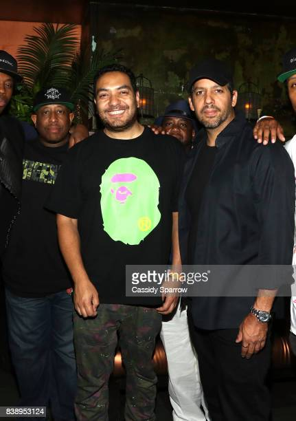 DJ Premier Cipha Sounds and David Blaine attend Dave Chappelle Birthday Celebration at TAO Uptown on August 24 2017 in New York City