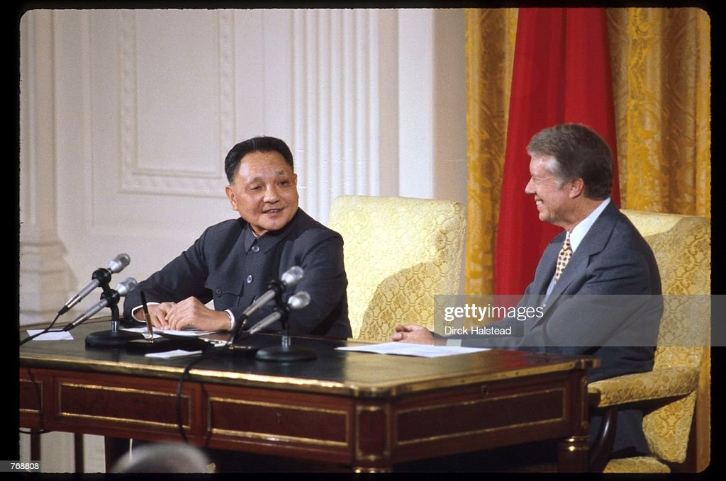 Premier Deng Xiaoping and President Jimmy Carter sit at a press conference January 31 1979 in Washington DC Xiaoping and President Carter met in...