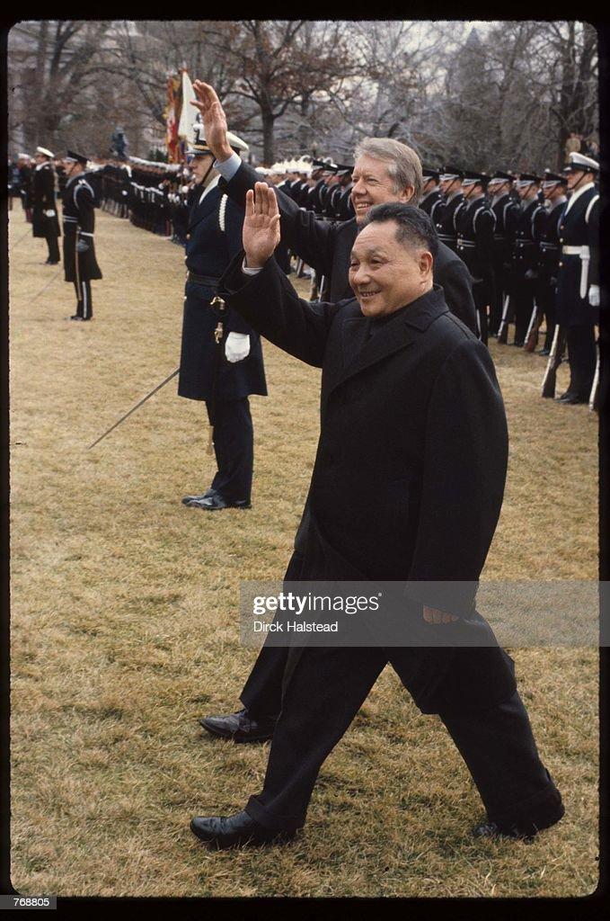 Premier Deng Xiaoping and President Jimmy Carter wave January 31 1979 in Washington DC Xiaoping and President Carter met in Washington DC and signed...