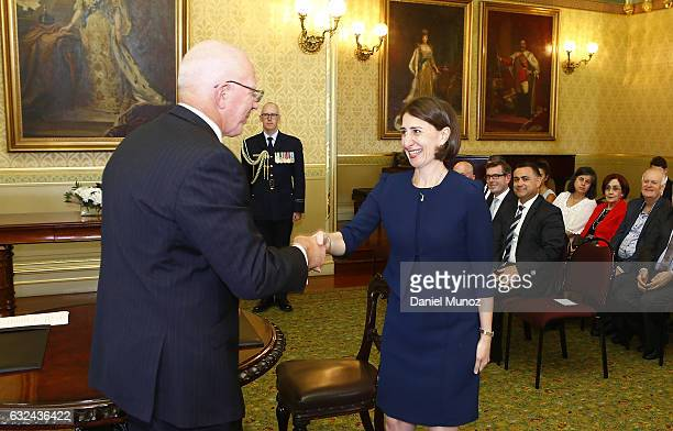 Premier Gladys Berejiklian is congratulated by NSW Governor David Hurley on January 23 2017 in Sydney Australia Berejiklian sworn in as the NSW 45th...
