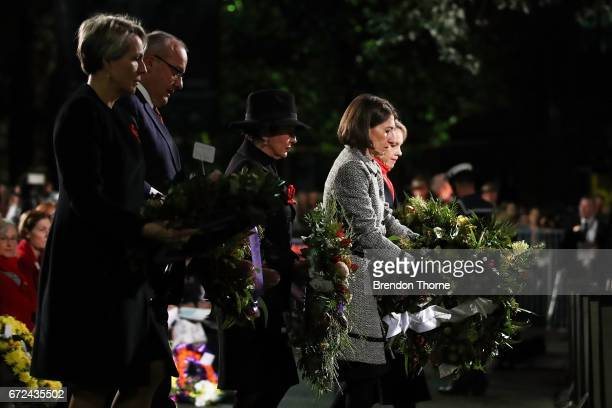 Premier Gladys Berejiklian lays a reath at the Cenotaph during the Sydney Dawn Service on April 25 2017 in Sydney Australia Australians commemorating...