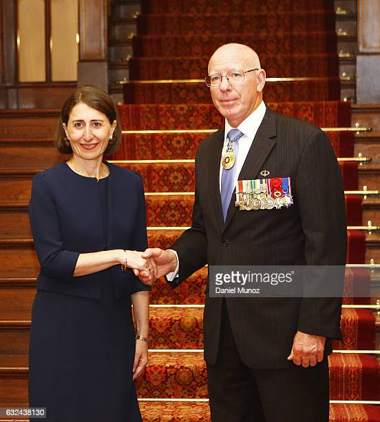 Premier Gladys Berejiklian poses for a picture with NSW Governor David Hurley on January 23 2017 in Sydney Australia Berejiklian sworn in as the NSW...