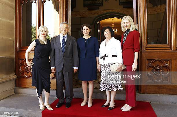 Premier Gladys Berejiklian poses for a picture withher family at the NSW Governor House on January 23 2017 in Sydney Australia Berejiklian sworn in...