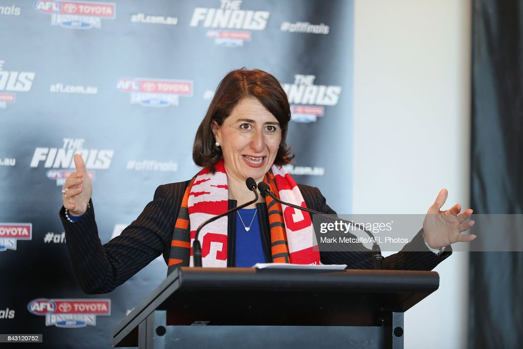 Premier Gladys Berejiklian speaks on stage during the AFL Grand Final media announcement at The Museum of Contemporary Art Australia on September 6, 2017 in Sydney, Australia.