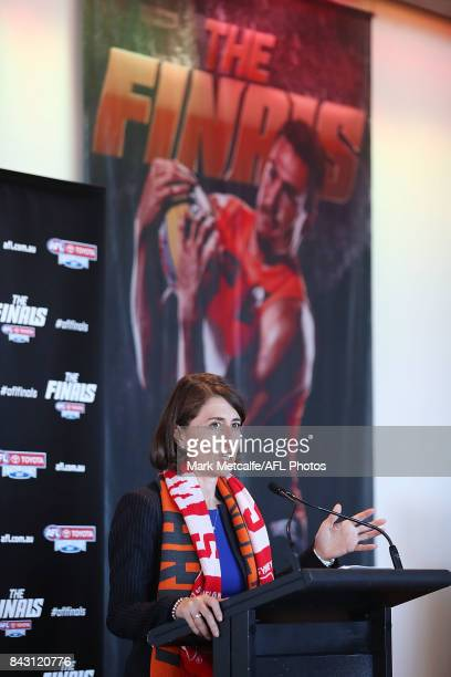 Premier Gladys Berejiklian speaks on stage during the AFL Grand Final media announcement at The Museum of Contemporary Art Australia on September 6...