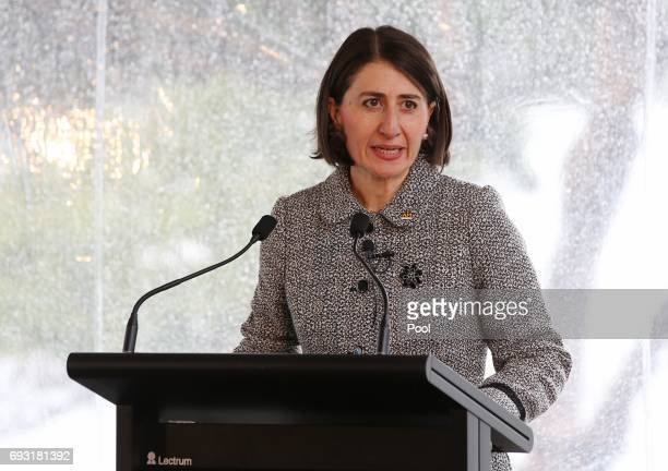 Premier Gladys Berejiklian speaks to dignitaries and members of the Invictus Team Australia Squad at the official launch at Admiralty House on June 7...