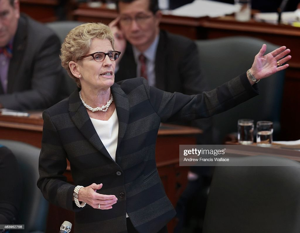 Premier <a gi-track='captionPersonalityLinkClicked' href=/galleries/search?phrase=Kathleen+Wynne&family=editorial&specificpeople=10626599 ng-click='$event.stopPropagation()'>Kathleen Wynne</a> answers a question at Queen's Park, February 17, 2015. The Ontario legislature is sitting after a long recess.