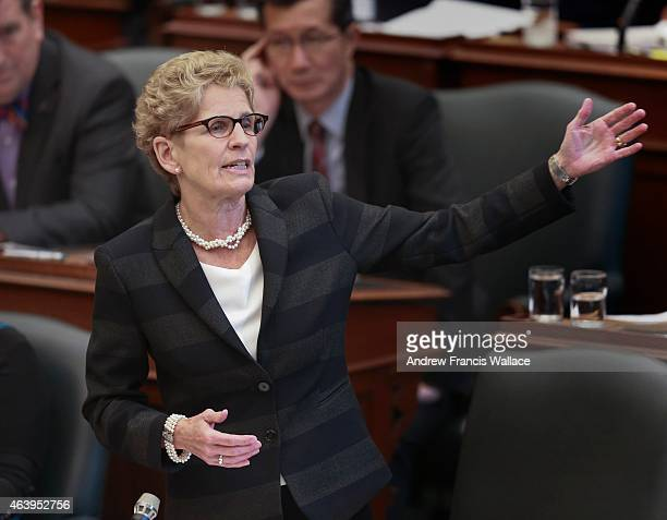 Premier Kathleen Wynne answers a question at Queen's Park February 17 2015 The Ontario legislature is sitting after a long recess