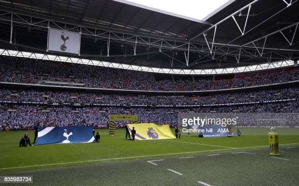 Premier League and Tottenham Hotspur banners during the Premier League match between Tottenham Hotspur and Chelsea at Wembley Stadium on August 20...