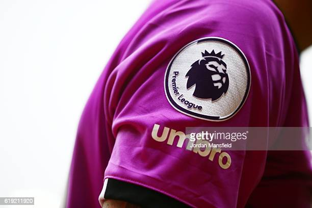 Premier League badge on the sleeve of the Hull City third kit during the Premier League match between Watford and Hull City at Vicarage Road on...